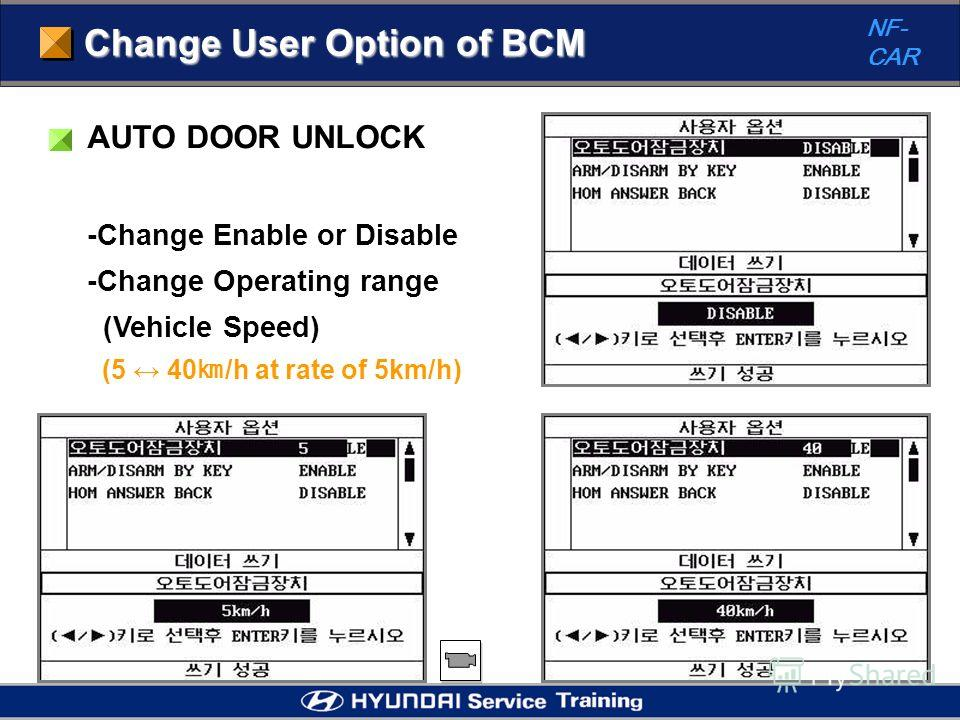 Change User Option of BCM NF- CAR AUTO DOOR UNLOCK -Change Enable or Disable -Change Operating range (Vehicle Speed) (5 40 /h at rate of 5km/h)