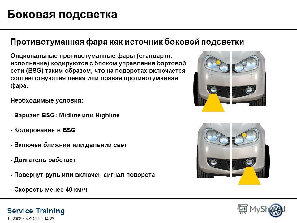 Service Training 10.2008 VSQ/TT 14/23 Противотуманная фара как источник боковой подсветки Боковая подсветка Опциональные противотуманные фары (стандарт. исполнение) кодируются с ооблоком управления бортовой сети (BSG) таким образом, что на поворотах