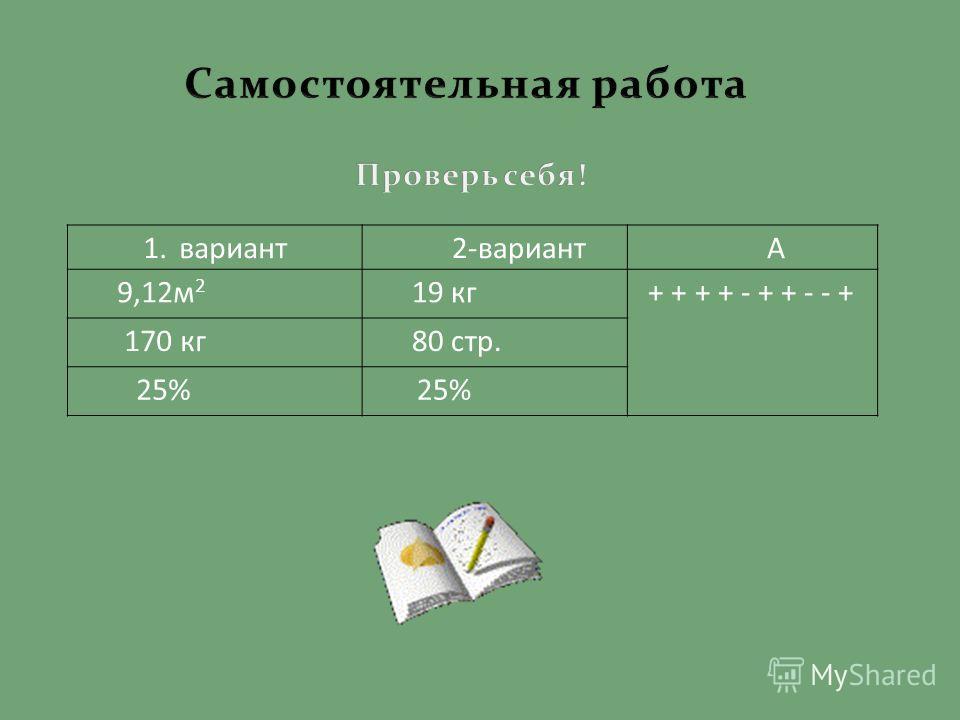 1.вариант 2-вариантА 9,12 м 2 19 кг + + + + - + + - - + 170 кг 80 стр. 25%