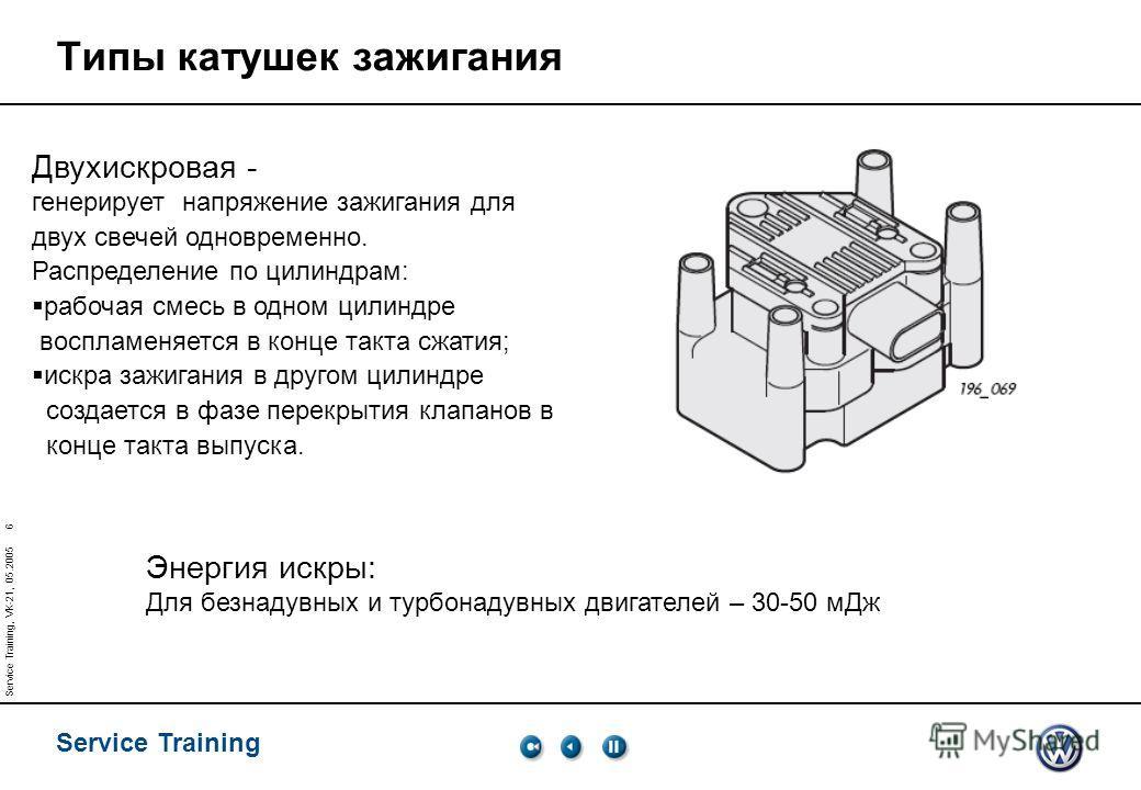 Service Training Service Training, VK-21, 05.2005 6 Типы катушек зажигания Двухискровая - генерирует напряжение зажигания для двух свечей одновременно. Распределение по цилиндрам: рабочая смесь в одном цилиндре воспламеняется в конце такта сжатия; ис