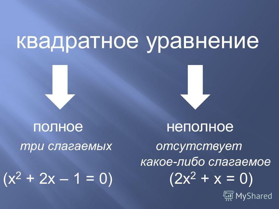 квадратное уравнение полное неполное три слагаемых отсутствует какое-либо слагаемое (х 2 + 2 х – 1 = 0) (2 х 2 + х = 0)