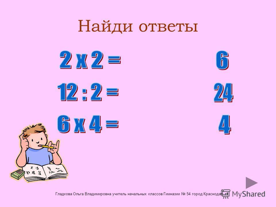 Найди ответы Гладкова Ольга Владимировна учитель начальных классов Гимназии 54 город Краснодар