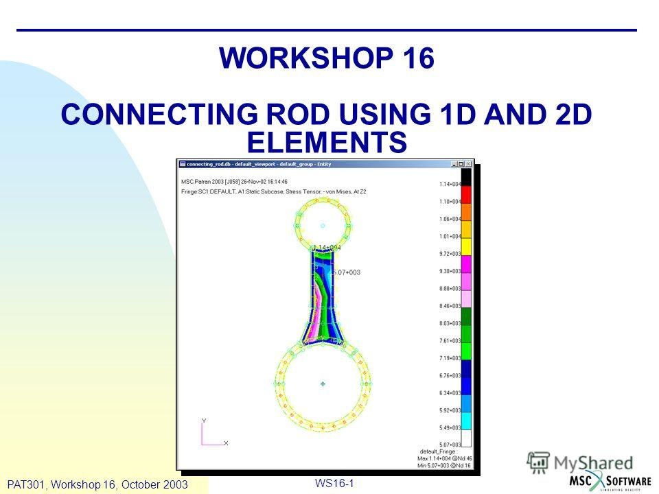 WS16-1 PAT301, Workshop 16, October 2003 WORKSHOP 16 CONNECTING ROD USING 1D AND 2D ELEMENTS