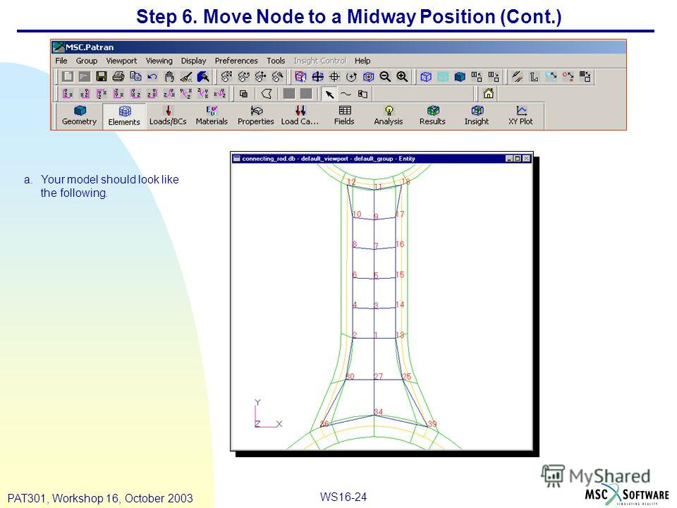 WS16-24 PAT301, Workshop 16, October 2003 Step 6. Move Node to a Midway Position (Cont.) a.Your model should look like the following.