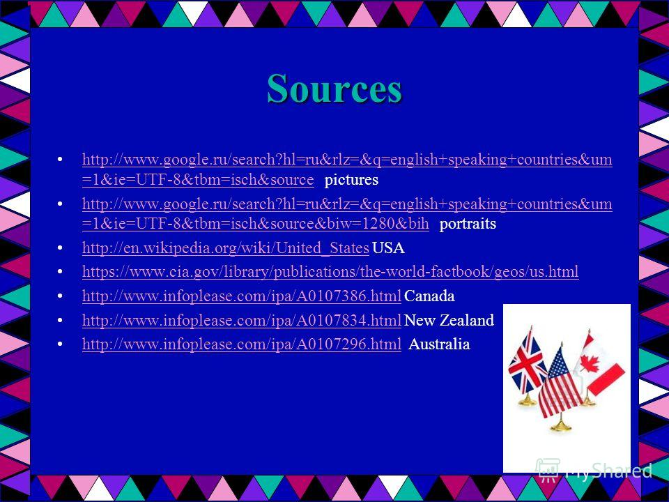 Sources http://www.google.ru/search?hl=ru&rlz=&q=english+speaking+countries&um =1&ie=UTF-8&tbm=isch&source pictureshttp://www.google.ru/search?hl=ru&rlz=&q=english+speaking+countries&um =1&ie=UTF-8&tbm=isch&source http://www.google.ru/search?hl=ru&rl