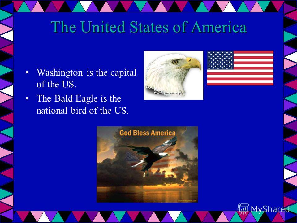 The United States of America Washington is the capital of the US. The Bald Eagle is the national bird of the US.