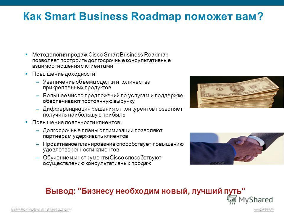 © 2007 Cisco Systems, Inc. All rights reserved. SMBAM v1.0-10 © 2006 Cisco Systems, Inc. All rights reserved. SMBUS-10 Как Smart Business Roadmap поможет вам? Методология продаж Cisco Smart Business Roadmap позволяет построить долгосрочные консультат