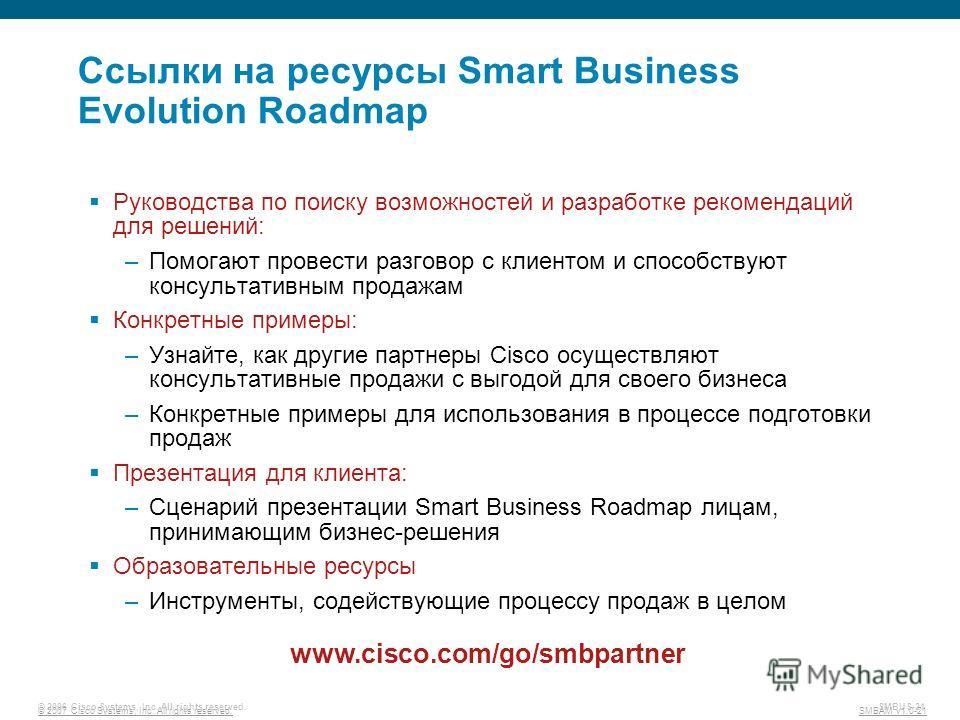 © 2007 Cisco Systems, Inc. All rights reserved. SMBAM v1.0-21 © 2006 Cisco Systems, Inc. All rights reserved. SMBUS-21 Ссылки на ресурсы Smart Business Evolution Roadmap Руководства по поиску возможностей и разработке рекомендаций для решений: –Помог