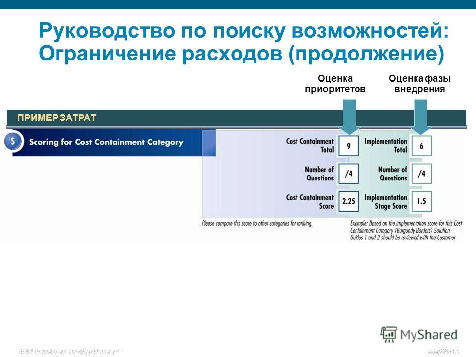© 2007 Cisco Systems, Inc. All rights reserved. SMBAM v1.0-7 © 2006 Cisco Systems, Inc. All rights reserved. SMBUS-7 Руководство по поиску возможностей: Ограничение расходов (продолжение) ПРИМЕР ЗАТРАТ Оценка приоритетов Оценка фазы внедрения