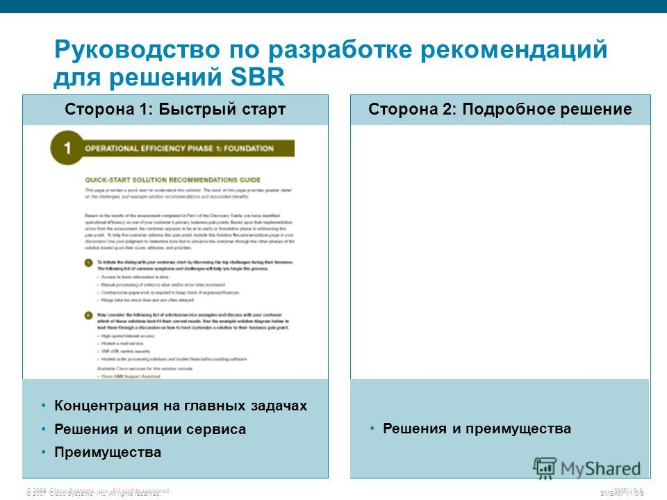 © 2007 Cisco Systems, Inc. All rights reserved. SMBAM v1.0-9 © 2006 Cisco Systems, Inc. All rights reserved. SMBUS-9 Руководство по разработке рекомендаций для решений SBR Сторона 1: Быстрый старт Сторона 2: Подробное решение Концентрация на главных