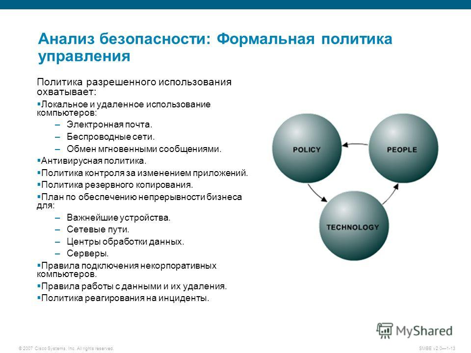 © 2007 Cisco Systems, Inc. All rights reserved. SMBE v2.01-13 Анализ безопасности: Формальная политика управления Политика разрешенного использования охватывает: Локальное и удаленное использование компьютеров: –Электронная почта. –Беспроводные сети.