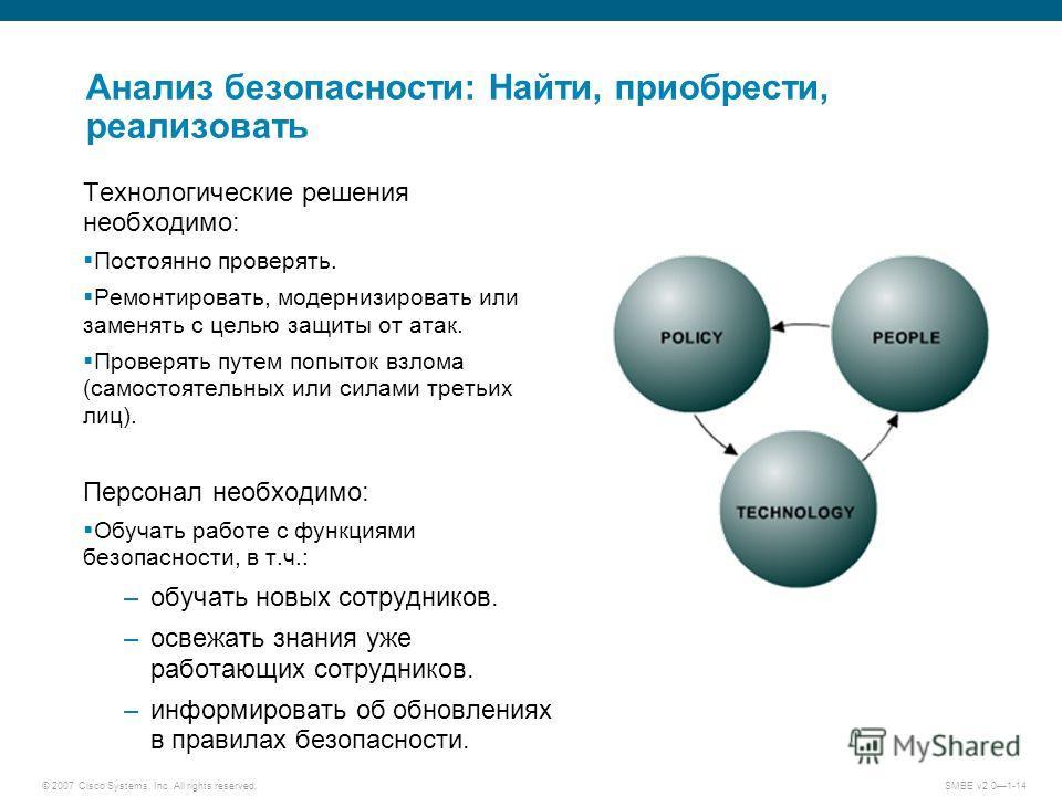 © 2007 Cisco Systems, Inc. All rights reserved. SMBE v2.01-14 Анализ безопасности: Найти, приобрести, реализовать Технологические решения необходимо: Постоянно проверять. Ремонтировать, модернизировать или заменять с целью защиты от атак. Проверять п