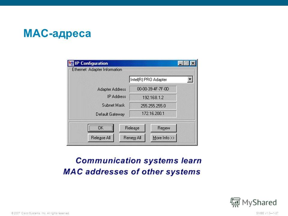 © 2007 Cisco Systems, Inc. All rights reserved.SMBE v1.01-37 MAC-адреса