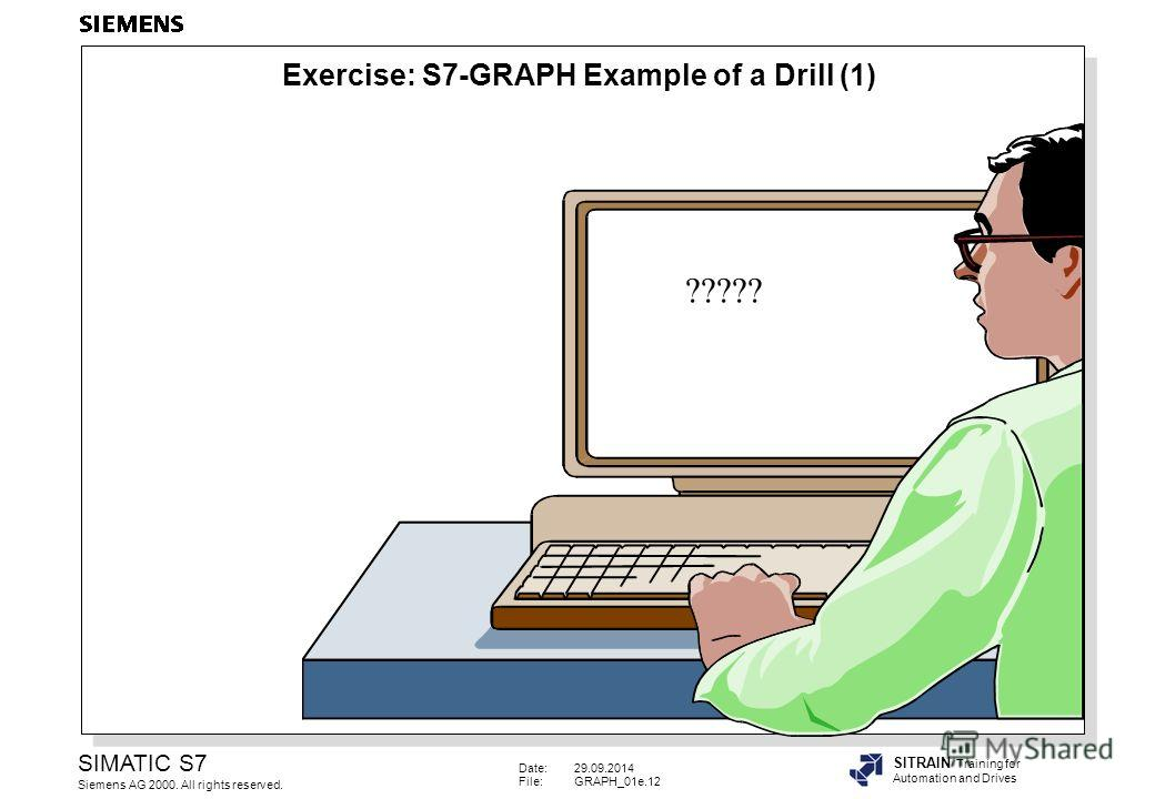 Date:29.09.2014 File:GRAPH_01e.12 SIMATIC S7 Siemens AG 2000. All rights reserved. SITRAIN Training for Automation and Drives ????? Exercise: S7-GRAPH Example of a Drill (1)