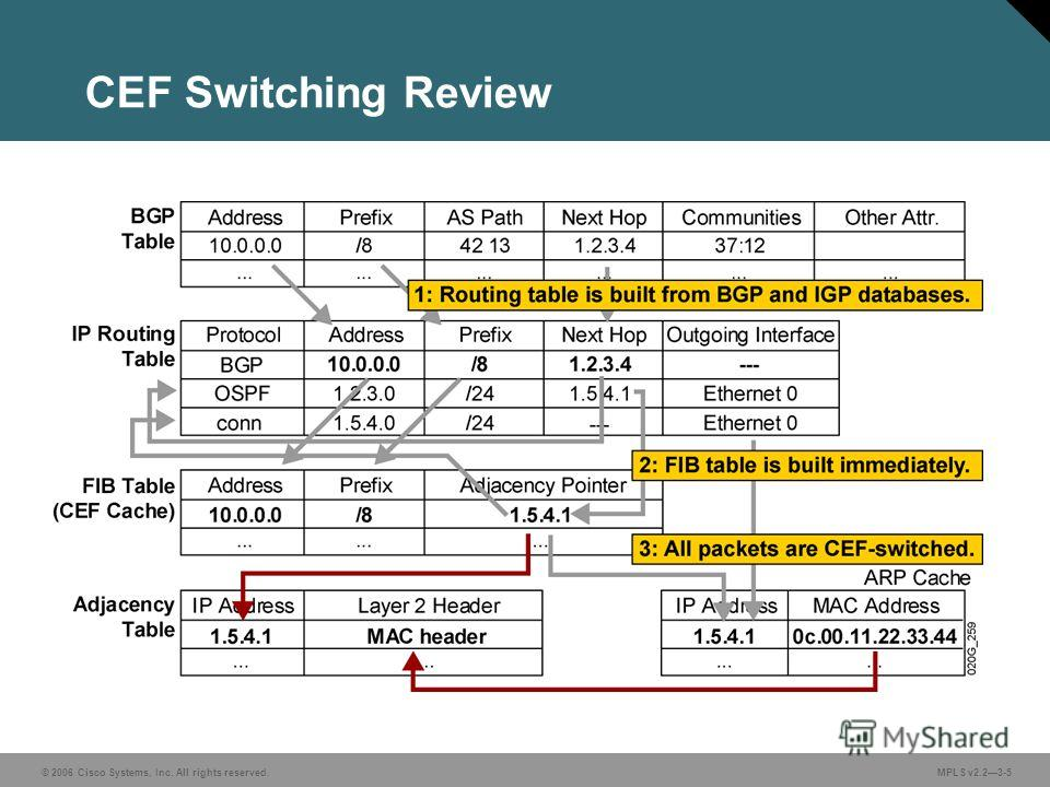 © 2006 Cisco Systems, Inc. All rights reserved. MPLS v2.23-5 CEF Switching Review