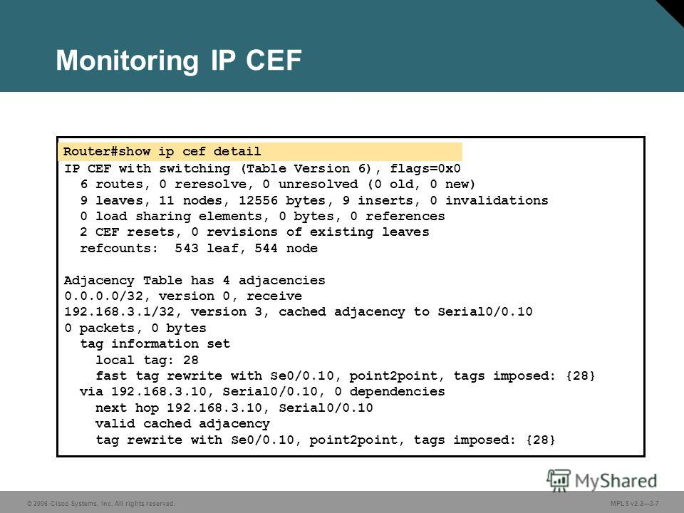 © 2006 Cisco Systems, Inc. All rights reserved. MPLS v2.23-7 Monitoring IP CEF Router#show ip cef detail IP CEF with switching (Table Version 6), flags=0x0 6 routes, 0 reresolve, 0 unresolved (0 old, 0 new) 9 leaves, 11 nodes, 12556 bytes, 9 inserts,