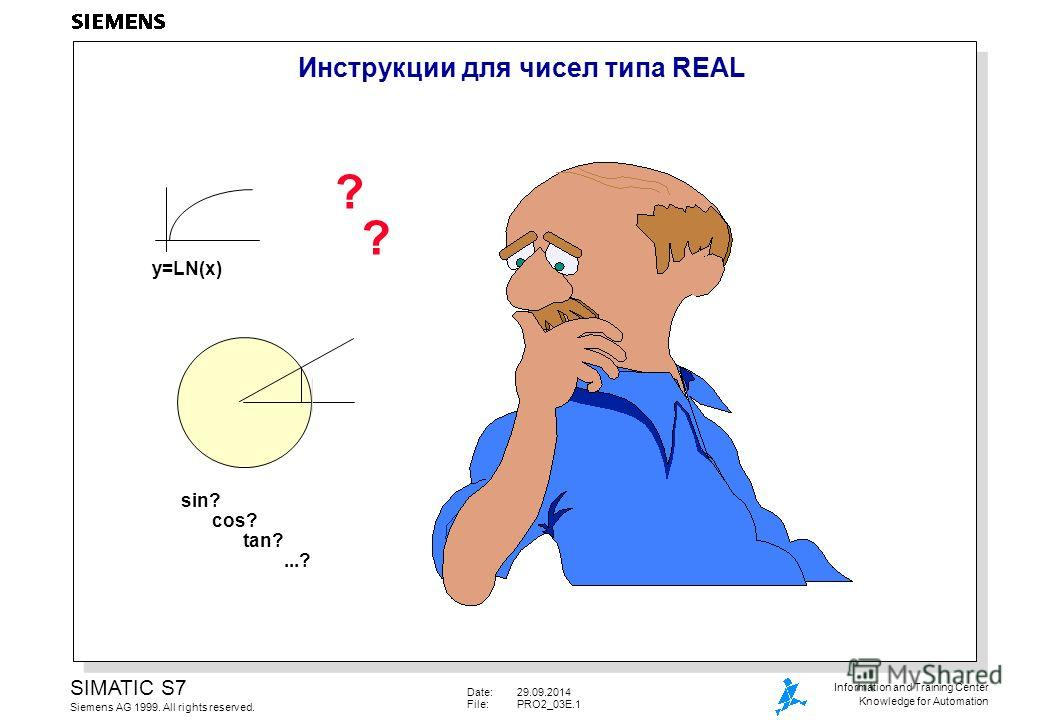 Date:29.09.2014 File:PRO2_03E.1 SIMATIC S7 Siemens AG 1999. All rights reserved. Information and Training Center Knowledge for Automation Инструкции для чисел типа REAL y=LN(x) sin? cos? tan?...? ? ?