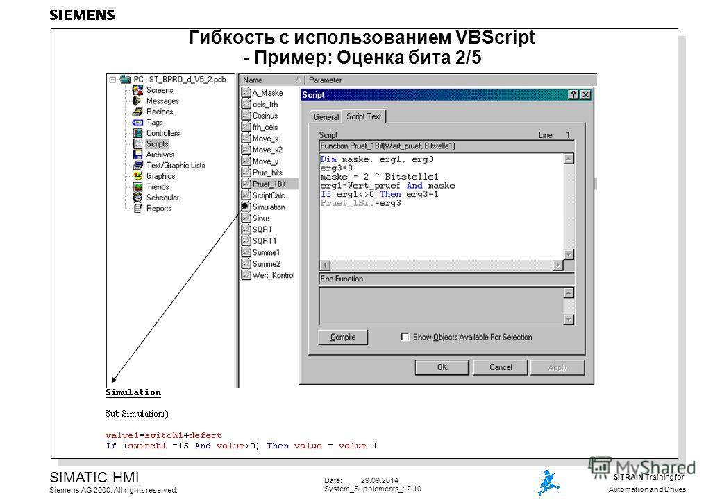 Date: 29.09.2014 System_Supplements_12.10 SIMATIC HMI Siemens AG 2000. All rights reserved. SITRAIN Training for Automation and Drives Гибкость с использованием VBScript - Пример: Оценка бита 2/5