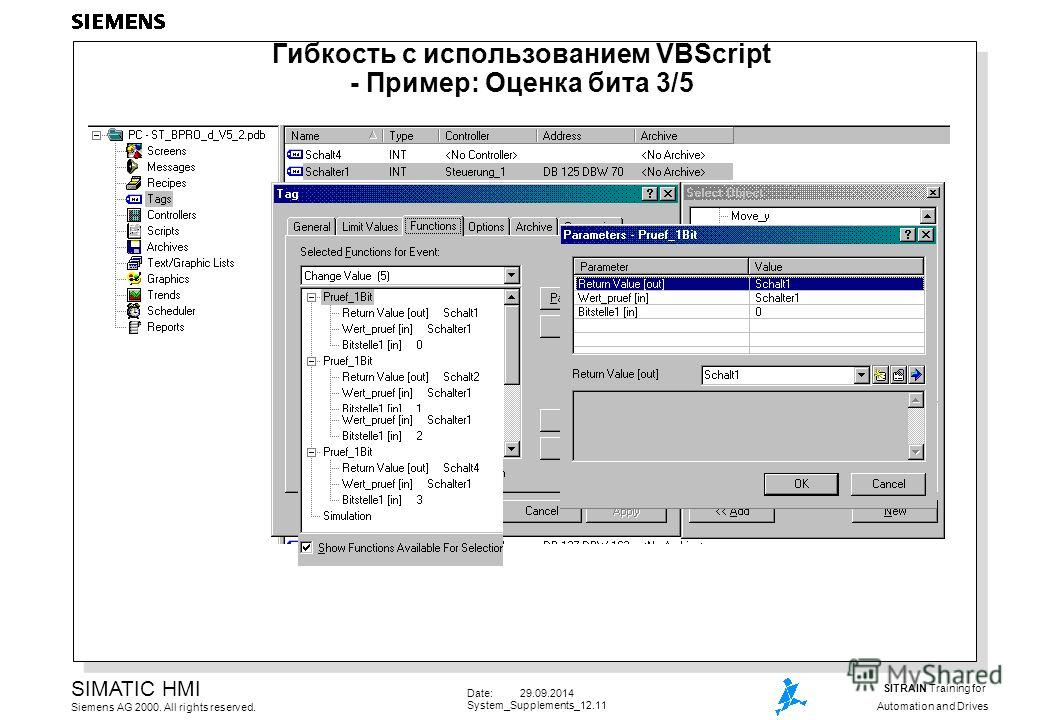Date: 29.09.2014 System_Supplements_12.11 SIMATIC HMI Siemens AG 2000. All rights reserved. SITRAIN Training for Automation and Drives Гибкость с использованием VBScript - Пример: Оценка бита 3/5