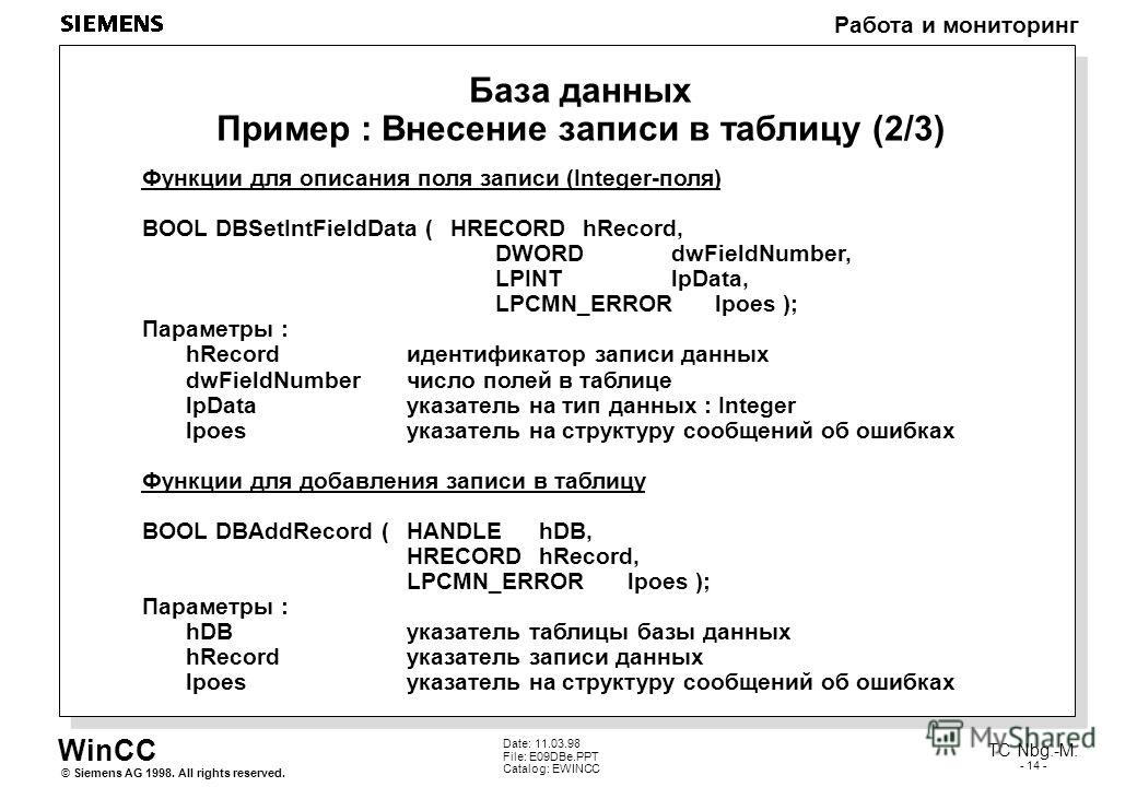 WinCC Работа и мониторинг Siemens AG 1998. All rights reserved.© TC Nbg.-M. - 14 - Date: 11.03.98 File: E09DBe.PPT Catalog: EWINCC База данных Пример : Внесение записи в таблицу (2/3) Функции для описания поля записи (Integer-поля) BOOL DBSetIntField