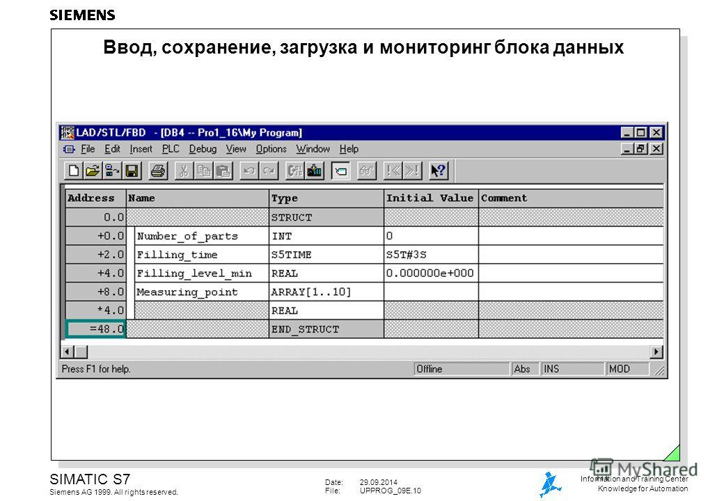 Date:29.09.2014 File:UPPROG_09E.10 SIMATIC S7 Siemens AG 1999. All rights reserved. Information and Training Center Knowledge for Automation Ввод, сохранение, загрузка и мониторинг блока данных