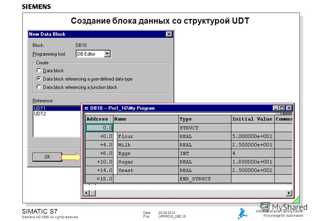 Date:29.09.2014 File:UPPROG_09E.16 SIMATIC S7 Siemens AG 1999. All rights reserved. Information and Training Center Knowledge for Automation Создание блока данных со структурой UDT