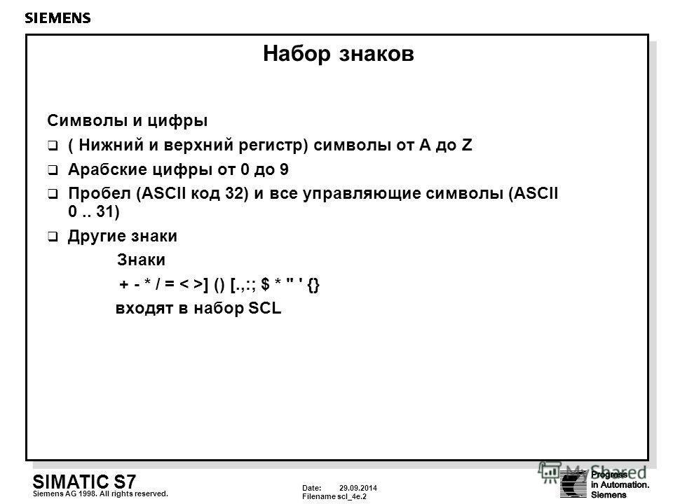 Date: 29.09.2014 Filenamescl_4e.2 SIMATIC S7 Siemens AG 1998. All rights reserved. Набор знаков Символы и цифры ( Нижний и верхний регистр) символы от A до Z Арабские цифры от 0 до 9 Пробел (ASCII код 32) и все управляющие символы (ASCII 0.. 31) Друг