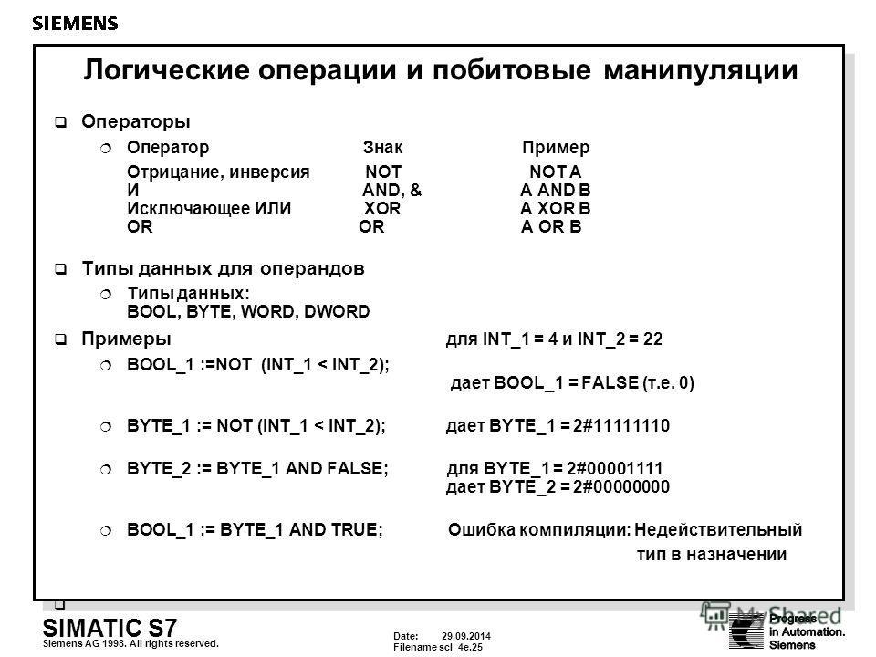 Date: 29.09.2014 Filenamescl_4e.25 SIMATIC S7 Siemens AG 1998. All rights reserved. Логические операции и побитовые манипуляции Операторы Оператор ЗнакПример Отрицание, инверсия NOTNOT A И AND, &A AND B Исключающее ИЛИXORA XOR B OR OR A OR В Типы дан