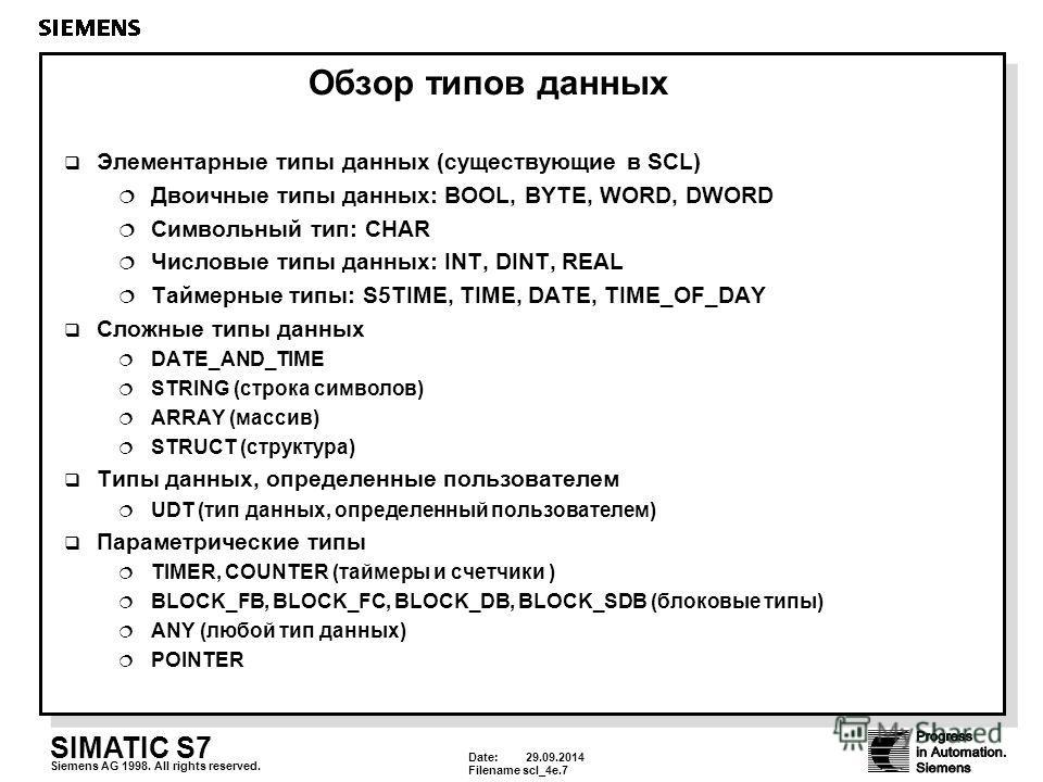 Date: 29.09.2014 Filenamescl_4e.7 SIMATIC S7 Siemens AG 1998. All rights reserved. Обзор типов данных Элементарные типы данных (существующие в SCL) Двоичные типы данных: BOOL, BYTE, WORD, DWORD Символьный тип: CHAR Числовые типы данных: INT, DINT, RE