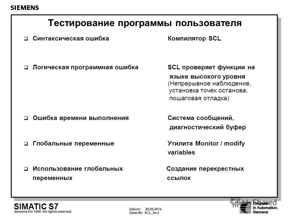 Datum: 29.09.2014 Datei.Nr:SCL_5e.2 SIMATIC S7 Siemens AG 1998. All rights reserved. Tecтирование программы пользователя Синтаксическая ошибка Компилятор SCL Логическая программная ошибкаSCL проверяет функции на языке высокого уровня (Непрерывное наб
