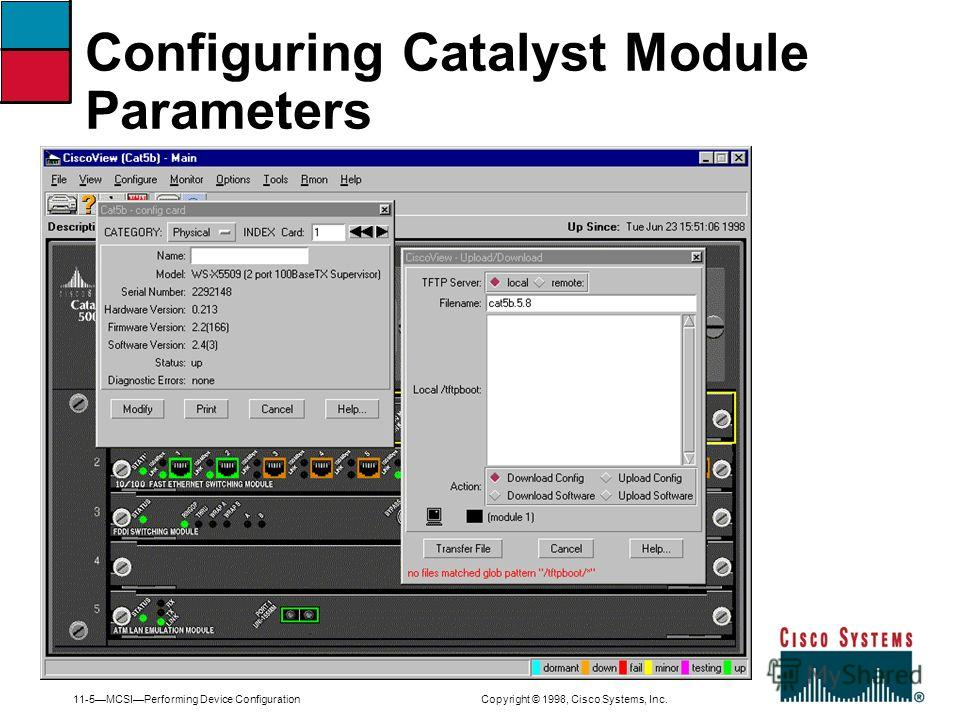 11-5MCSIPerforming Device Configuration Copyright © 1998, Cisco Systems, Inc. Configuring Catalyst Module Parameters