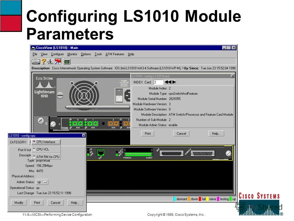 11-8MCSIPerforming Device Configuration Copyright © 1998, Cisco Systems, Inc. Configuring LS1010 Module Parameters