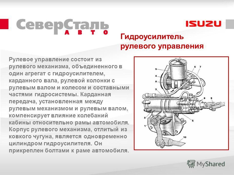 Гидроусилитель рулевого управления Рулевое управление состоит из рулевого механизма, объединенного в один агрегат с гидроусилителем, карданного вала, рулевой колонки с рулевым валом и колесом и составными частями гидросистемы. Карданная передача, уст