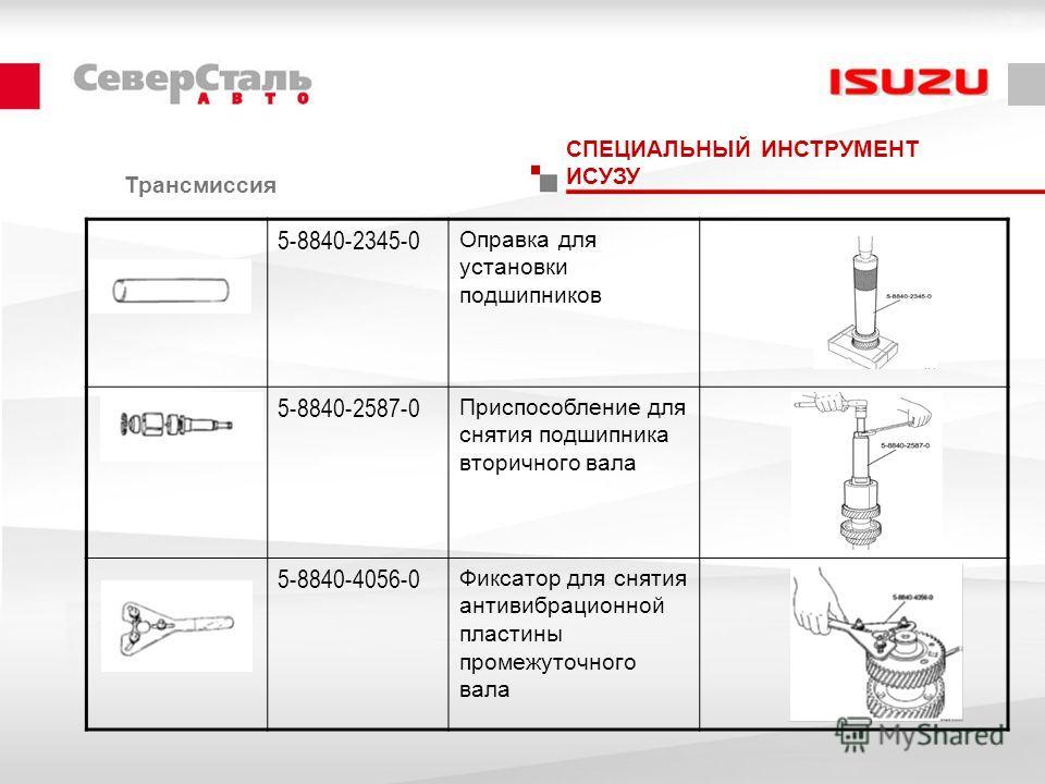 Трансмиссия СПЕЦИАЛЬНЫЙ ИНСТРУМЕНТ ИСУЗУ 5-8840-2345-0 Оправка для установки подшипников 5-8840-2587-0 Приспособление для снятия подшипника вторичного вала 5-8840-4056-0 Фиксатор для снятия антивибрационной пластины промежуточного вала
