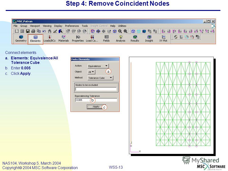 WS5-13 NAS104, Workshop 5, March 2004 Copyright 2004 MSC.Software Corporation Step 4: Remove Coincident Nodes Connect elements a.Elements: Equivalence/All Tolerance Cube. b.Enter 0.005 c.Click Apply. c a b