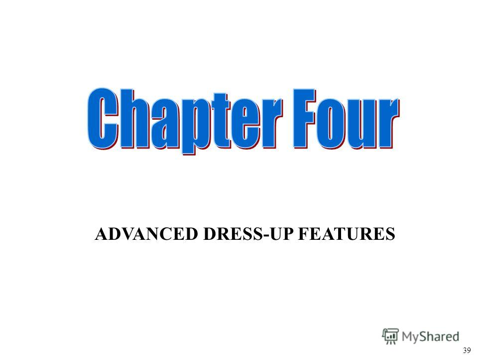 ADVANCED DRESS-UP FEATURES 39