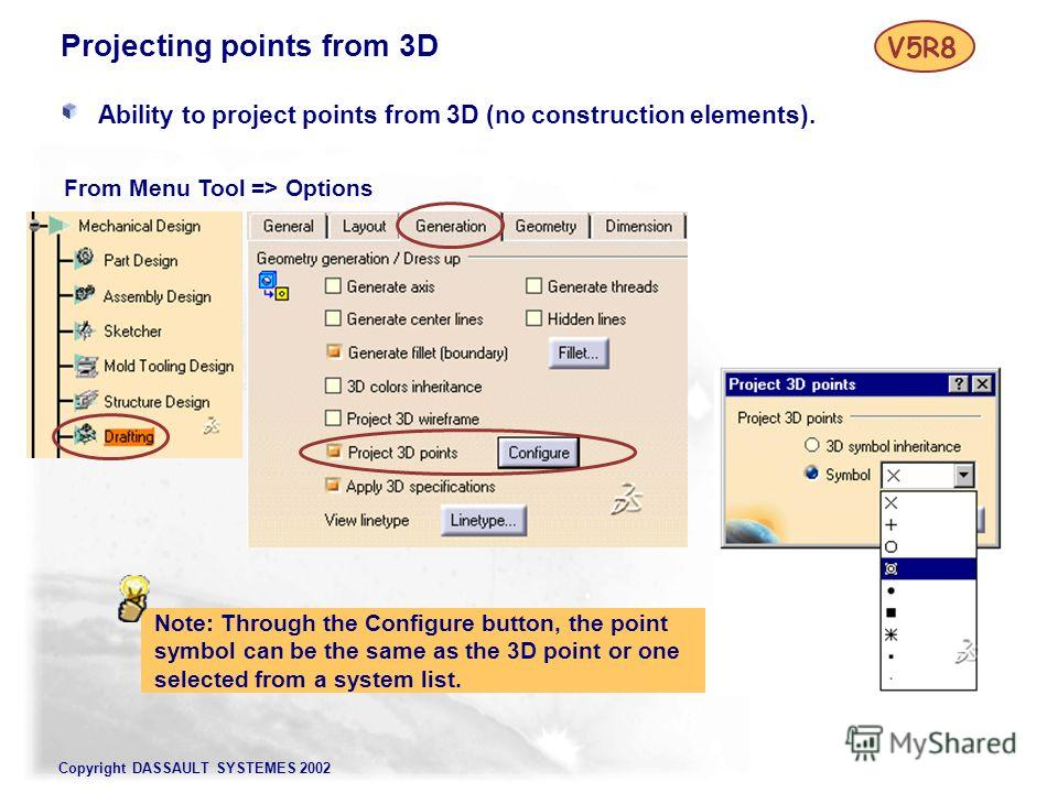 Copyright DASSAULT SYSTEMES 2002 Projecting points from 3D Ability to project points from 3D (no construction elements). Note: Through the Configure button, the point symbol can be the same as the 3D point or one selected from a system list. V5R8 Fro