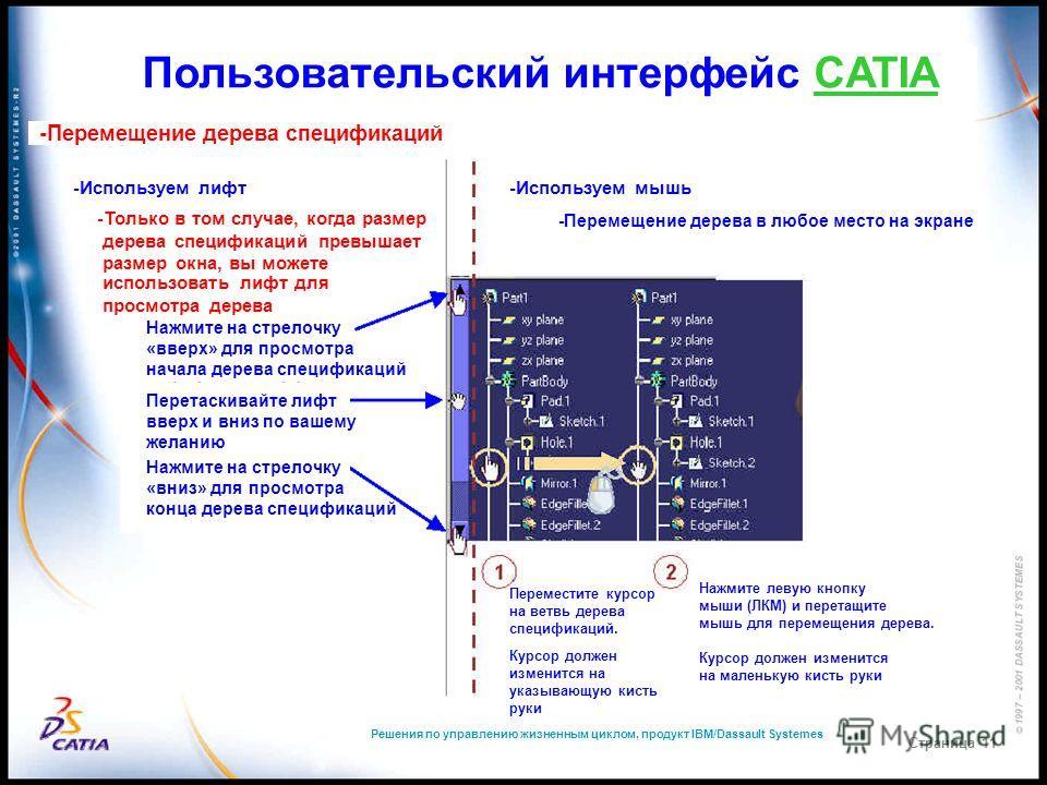 Решения по управлению жизненным циклом, продукт IBM/Dassault Systemes Страница 11 Пользовательский интерфейс CATIA -Перемещение дерева спецификаций -Используем лифт -Только в том случае, когда размер дерева спецификаций превышает размер окна, вы може