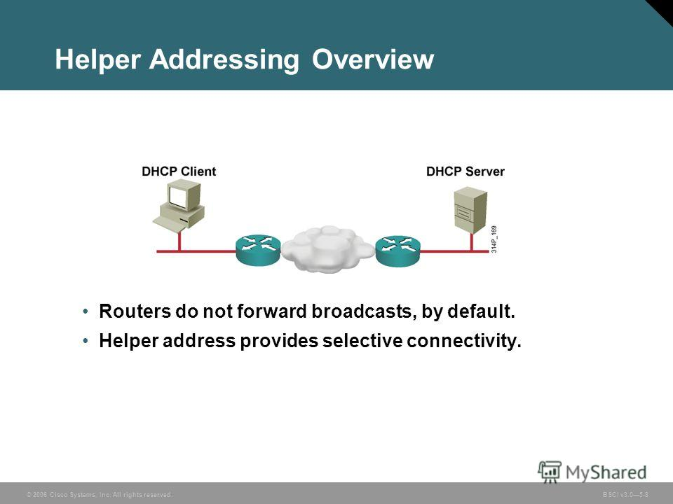 © 2006 Cisco Systems, Inc. All rights reserved. BSCI v3.05-8 Helper Addressing Overview Routers do not forward broadcasts, by default. Helper address provides selective connectivity.