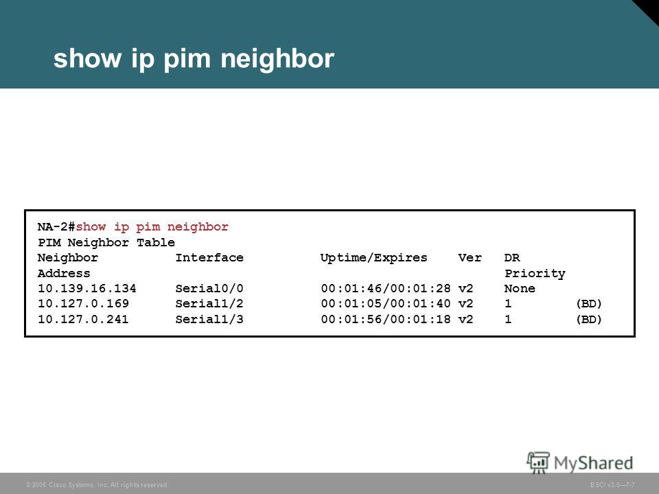 © 2006 Cisco Systems, Inc. All rights reserved. BSCI v3.07-7 show ip pim neighbor NA-2#show ip pim neighbor PIM Neighbor Table Neighbor Interface Uptime/Expires Ver DR Address Priority 10.139.16.134 Serial0/0 00:01:46/00:01:28 v2 None 10.127.0.169 Se