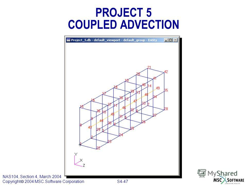 S4-47 NAS104, Section 4, March 2004 Copyright 2004 MSC.Software Corporation PROJECT 5 COUPLED ADVECTION