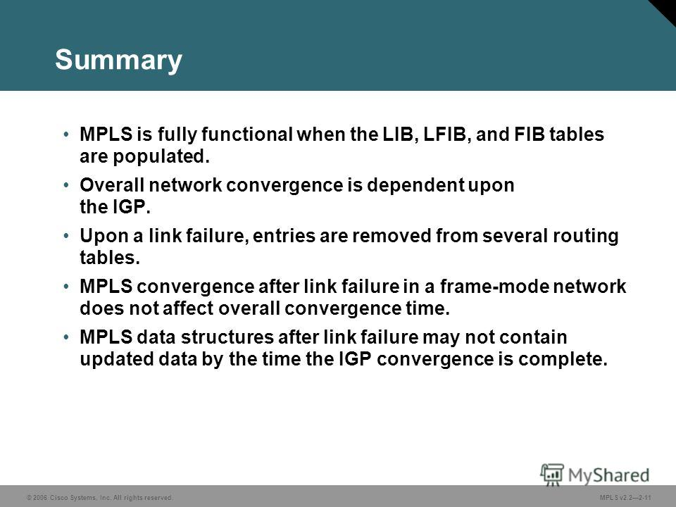 © 2006 Cisco Systems, Inc. All rights reserved. MPLS v2.22-11 Summary MPLS is fully functional when the LIB, LFIB, and FIB tables are populated. Overall network convergence is dependent upon the IGP. Upon a link failure, entries are removed from seve