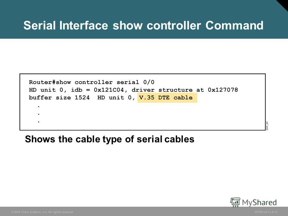 © 2005 Cisco Systems, Inc. All rights reserved.INTRO v2.18-15 Shows the cable type of serial cables Serial Interface show controller Command