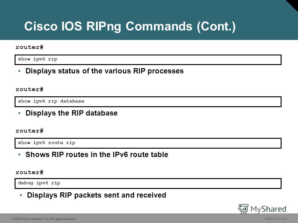 © 2006 Cisco Systems, Inc. All rights reserved. IP6FD v2.04-5 Displays RIP packets sent and received show ipv6 rip router# Displays status of the various RIP processes show ipv6 rip database router# Displays the RIP database debug ipv6 rip router# sh