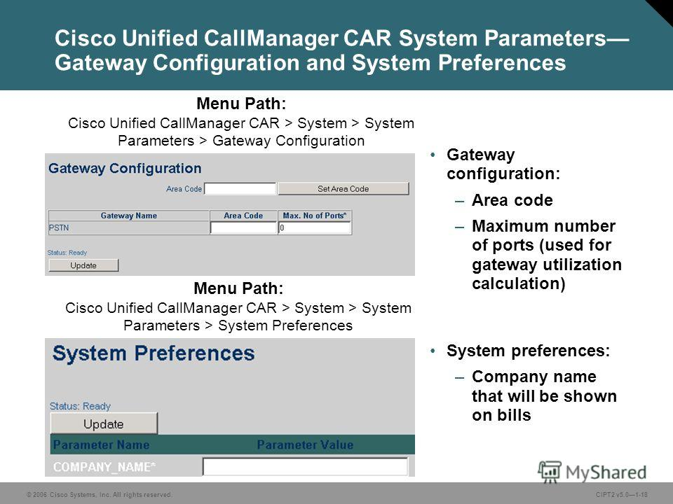 © 2006 Cisco Systems, Inc. All rights reserved.CIPT2 v5.01-18 Cisco Unified CallManager CAR System Parameters Gateway Configuration and System Preferences Gateway configuration: –Area code –Maximum number of ports (used for gateway utilization calcul