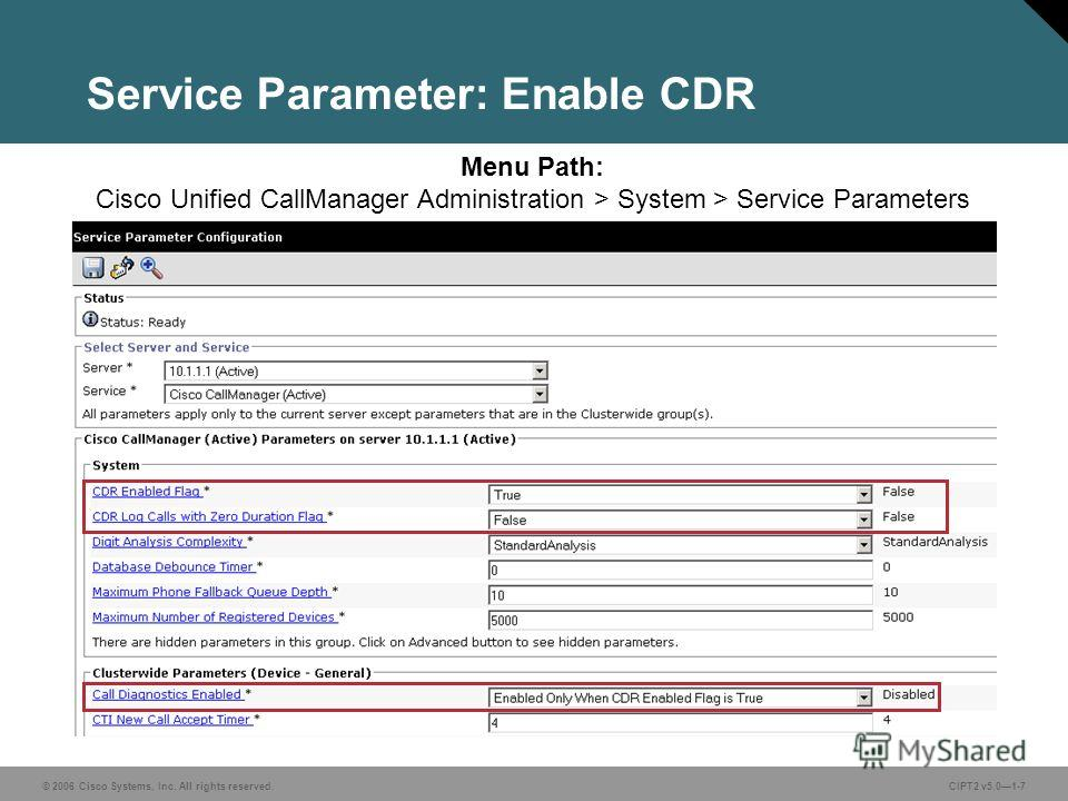 © 2006 Cisco Systems, Inc. All rights reserved.CIPT2 v5.01-7 Service Parameter: Enable CDR Menu Path: Cisco Unified CallManager Administration > System > Service Parameters