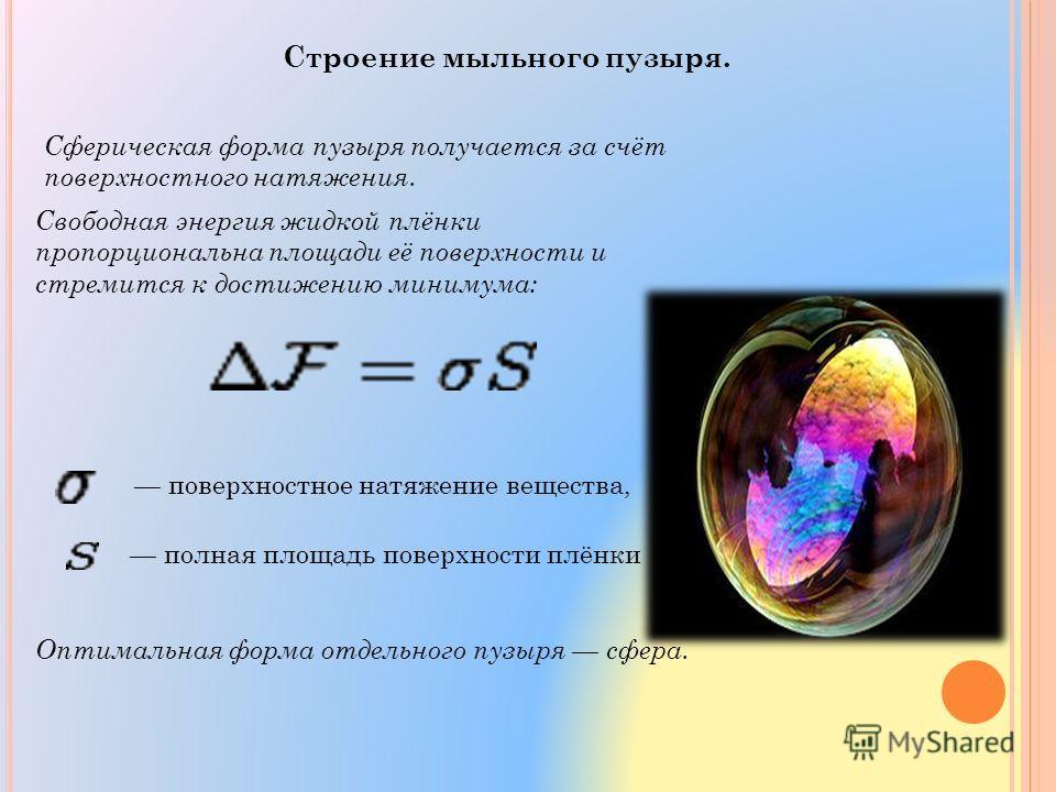 Строение мыльного пузыря. Сферическая форма пузыря получается за счёт поверхностного натяжения. Свободная энергия жидкой плёнки пропорциональна площади её поверхности и стремится к достижению минимума: поверхностное натяжение вещества, полная площадь
