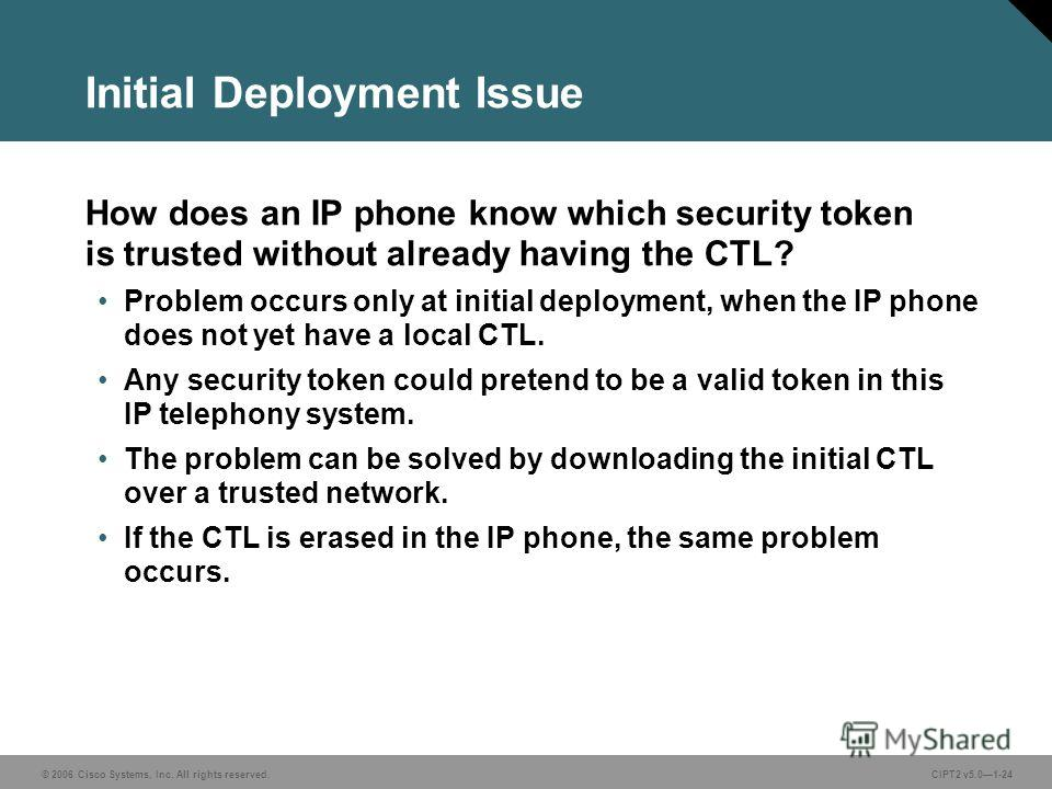 © 2006 Cisco Systems, Inc. All rights reserved.CIPT2 v5.01-24 Initial Deployment Issue How does an IP phone know which security token is trusted without already having the CTL? Problem occurs only at initial deployment, when the IP phone does not yet