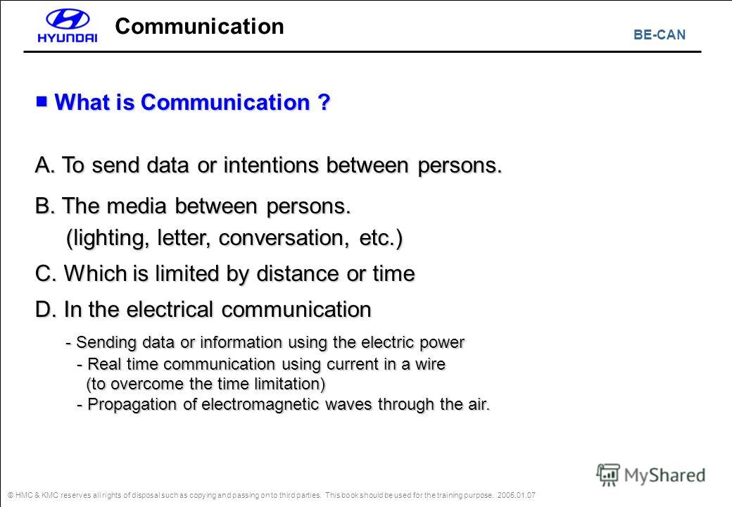 BE-CAN © HMC & KMC reserves all rights of disposal such as copying and passing on to third parties. This book should be used for the training purpose. 2005.01.07 Communication What is Communication ? What is Communication ? A. To send data or intenti