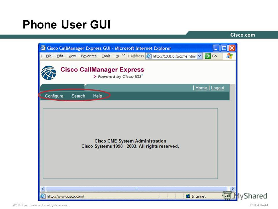 © 2005 Cisco Systems, Inc. All rights reserved. IPTX v2.04-4 Phone User GUI